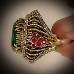 EMERALD RUBY RING Size 7.5 Solid 925 Silver/Gold